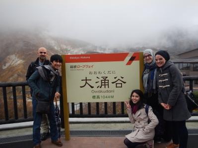 旅行した友達と一緒;イギリス人のシャンライズ、オストラリア人のアシル、インドネシア人のエキ